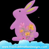 Free Sublimation Print Pink Felt Floral Rabbit