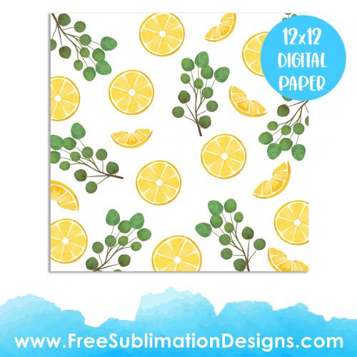 Free Sublimation Print Lemon Watercolor Digital Paper Pattern