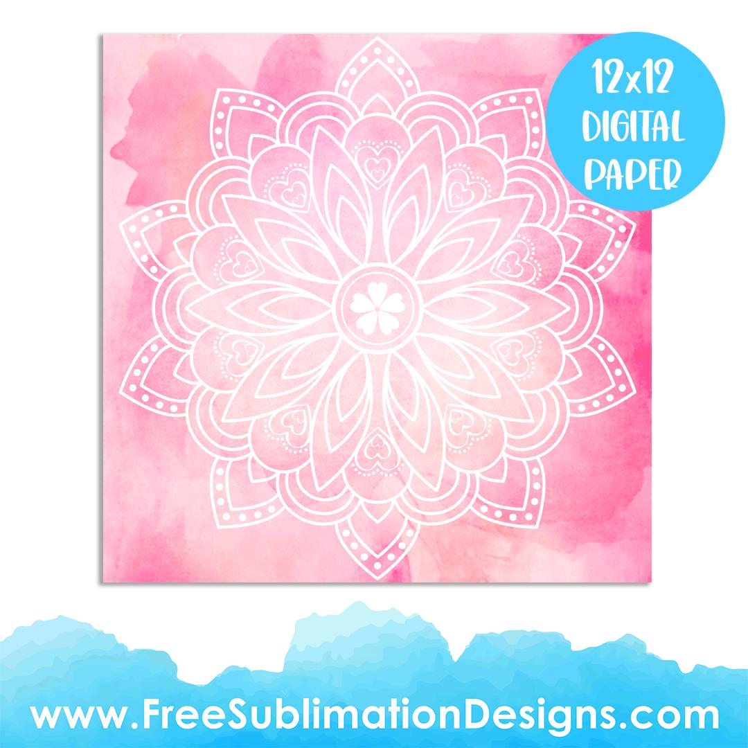 Free Sublimation Print Pink Watercolor Mandala Digital Paper