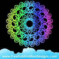 Free Sublimation Print Rainbow Mandala