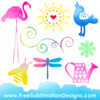 Free Sublimation Print Watercolor Elements
