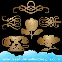 Free Sublimation Print Vintage Glitter Elements