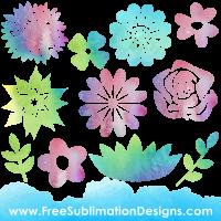 Free Sublimation Print Watercolor Floral Elements