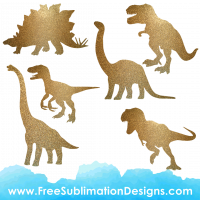 Free Sublimation Print Glitter Dinosaur Silhouettes