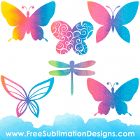 Free Sublimation Print Watercolor Rainbow Butterfly