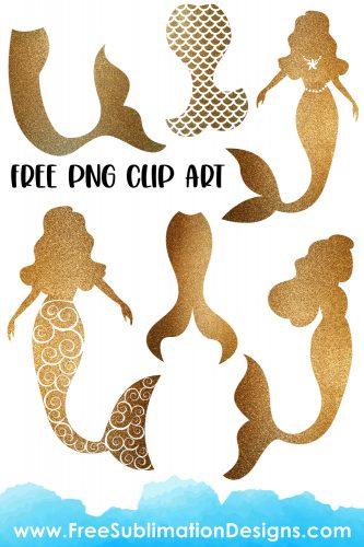 Free Sublimation Print Glitter Mermaid Silhouette