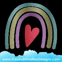 Free Sublimation Print Glitter Heart Rainbow