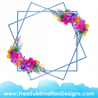 Free Sublimation Print Watercolor Flower Floral Frame