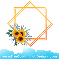 Free Sublimation Print Watercolor Sunflower Frame