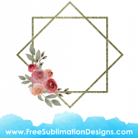 Free Sublimation Print Watercolor Rose Floral Frame