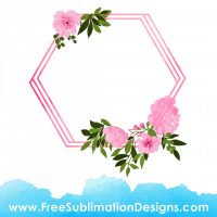 Free Sublimation Print Watercolor Floral Hexagon Frame