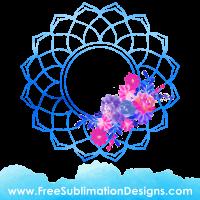 Free Sublimation Print Watercolor Mandala Floral Frame