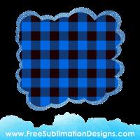 Free Sublimation Print Blue Tartan Cloud Glitter Background