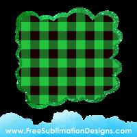 Free Sublimation Print Green Tartan Cloud Glitter Background