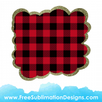 Free Sublimation Print Red Tartan Cloud Glitter Background