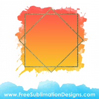 Free Sublimation Print Orange Glitter Diamond Watercolor Background