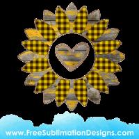 Free Sublimation Print Love Heart Glitter Tartan Sunflower