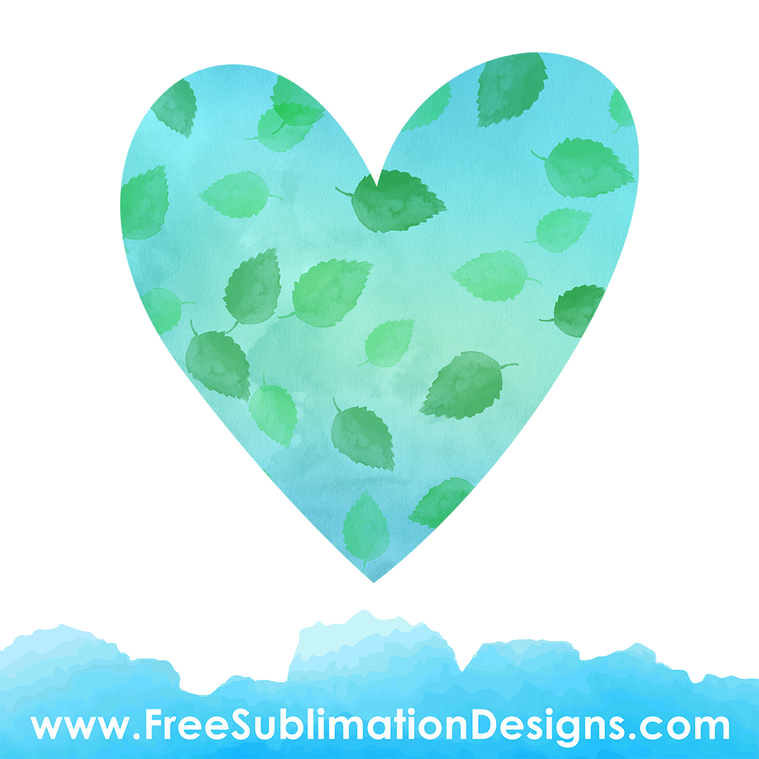 Free Sublimation Print Watercolor Fall Leaves Love Heart Background