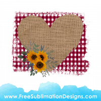 Free Sublimation Print Floral Love Heart Burlap Tartan Background