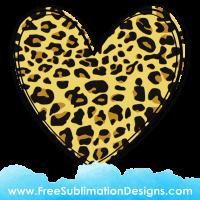 Leopard Print Love Heart Sublimation Print