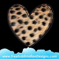 Cheetah Fur Love Heart Sublimation Print