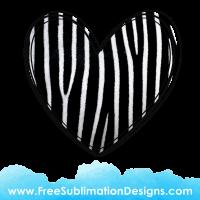 Zebra Fur Love Heart Sublimation Print
