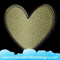 Gold Glitter Love Heart Sublimation Print
