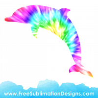Tie Dye Dolphin Sublimation Print