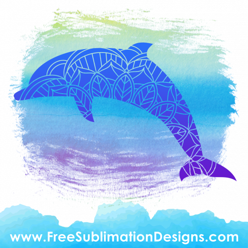 Dolphin Mandala Silhouette Sublimation Print