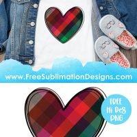 Plaid Love Heart Sublimation Print
