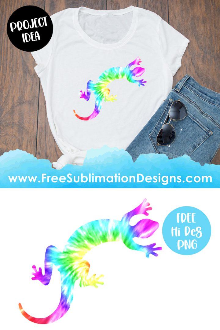 Tie Dye Geko Silhouette Sublimation Print