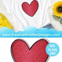 Red Glitter Love Heart Sublimation Print