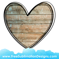 Wood Texture Love Heart Sublimation Print