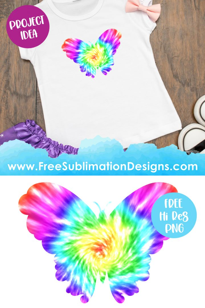 Tie Dye Butterfly Sublimation Print