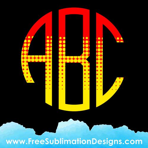 Comic Round Circle Monogram Font Sublimation Print