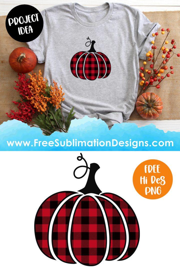 Red Buffalo Plaid Halloween Pumpkin Sublimation Print