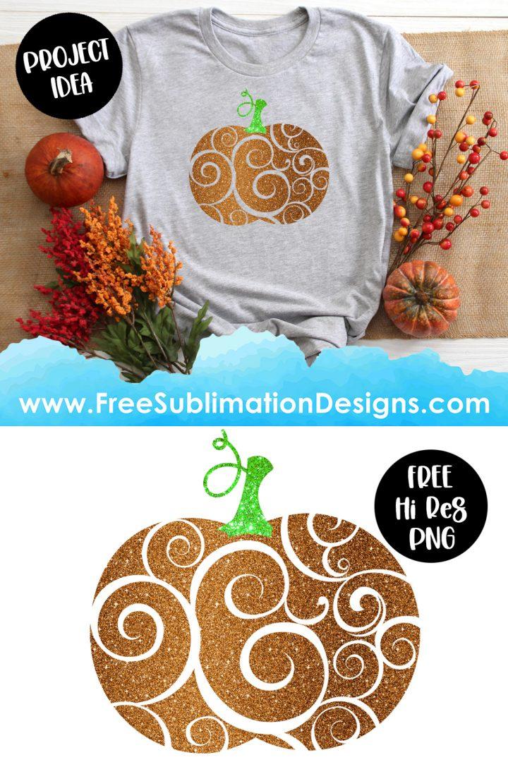 Halloween Glitter Swirls Pumpkin Sublimation Print