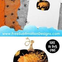 Fall Leaves Glitter Pumpkin Sublimation Print