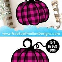 Pink Buffalo Plaid Halloween Pumpkin Sublimation Print