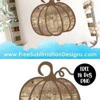 Vintage Glitter Wood Texture Pumpkin Sublimation Print