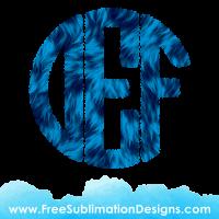 Blue Fur Circle Round Monogram Font Sublimation Print