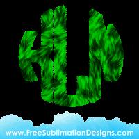 Green Fur Circle Round Monogram Font Sublimation Print