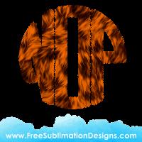 Orange Fur Circle Round Monogram Font Sublimation Print