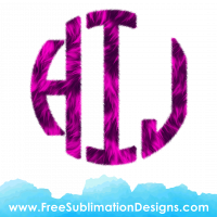 Pink Fur Circle Round Monogram Font Sublimation Print