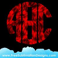 Red Fur Round Monogram Font Sublimation Print