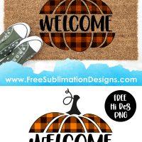 Halloween Welcome Pumpkin Buffalo Plaid Tartan Sublimation Print