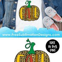 Fall Leopard Print Pumpkin Sublimation Print