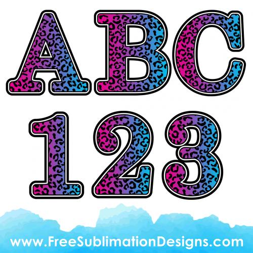 Leopard Print Font Purple Blue Sublimation Print