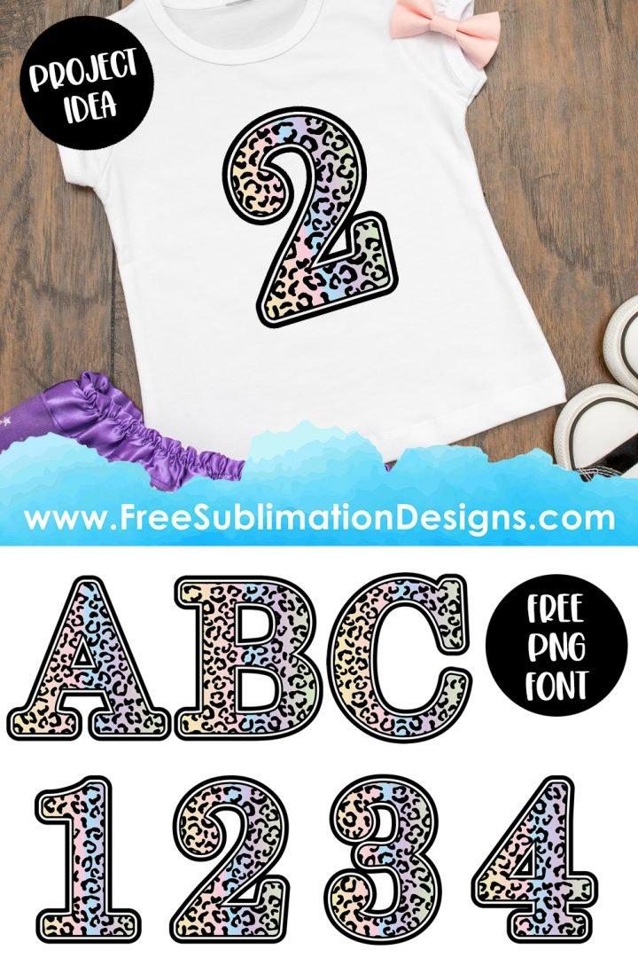 Leopard Print Font Pastel Sublimation Print