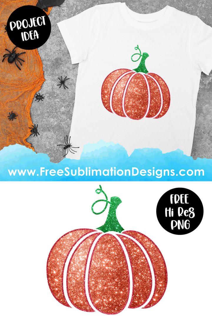 Halloween Glitter Pumpkin Sublimation Print